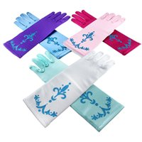 Wholesale Pretty Baby glitter powder printing children party gloves elsa coronation gloves Elsa And Anna Princess Gloves For Evening Party in stock