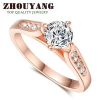 Wholesale Top Quality ZYR065 Classic K Rose Gold White Plated ct mm CZ Diamond Wedding Ring Austrian Crystals For women