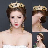 Wholesale Luxurious Royal Gold Rhinestones Wedding Tiaras Crowns Princess Bridal Headpieces Headband Pieces A Set Long Earrings Cheap Price