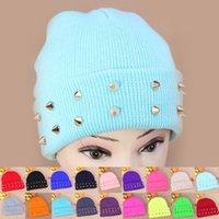 Beanie/Skull Cap beige tabby - Super Cool Winter For Men Women Unisex Knitting Wool With Rock Rivets Style Warm Fluorescence Tabby Solid Beanie Hat