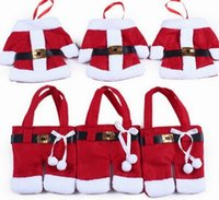 best santa suit - 50 best christmas gifts Cultery Tableware Knife Fork Holders Santa Clothes Silverware Bags Cover Suit Christmas table decorations