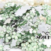 Wholesale Size mm Round Light Green Color Plum Flower Acrylic Rhinestone Flat Back Nail Art Rhinestones DIY