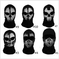 balaclava army - New Arrive Ghost Skull Full Face Mask Cosplay Balaclava Paintball Outdoor CS Hood WarGame Airs lotoft Hunting Army Tactical Masks