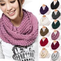 Cotton knit circle scarf - Hot Sales Women Men Warm Knit Neck Circle Wool Cowl Snood Long Scarf Shawl Wrap ax30