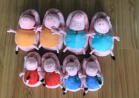 Cheap 30pairs New Peppa pig family Plush Slippers Peppa pig George pig Mummy pig and Daddy Pig indoor Slipper plush shoes