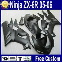 achat en gros de zx 636-GROSSES SOLDES! Matte Black Kit carénage carénage pour carénages Kawasaki ZX6R 2005 2006 Ninja 636 ZX-6R 05 06 Pièces en plastique