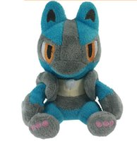 Wholesale 14 CM Poke plush toys Luca Leo soft toy Lucario Soft Stuffed Animal Doll Anime Cartoon Collectible Model Pocket Monsters Stuffed Toy Retail
