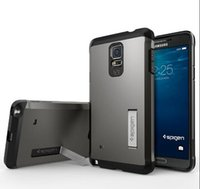 Wholesale New SPIGEN SGP Slim Tough Armor Series Case Stand Cover For Samsung NOTE4 Rugged Cell Phone Cases Dropshipping