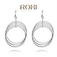 Wholesale 015 ROXI Sterling silver Fine Jewelry Silver AAA CZ Modelling Circle Beauty Earrings3020031809