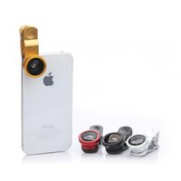 Wholesale Universal in1 Clip Fish Eye Lens Wide Angle Macro Mobile Phone Lens For iPhone Samsung S4 S5 All Phones fisheye