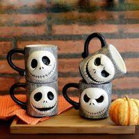 coffee mugs - Nightmare Before Christmas Relief Ceramic Mug Halloween Skeleton Man Face Cups Creative Coffee Mug Cups ml