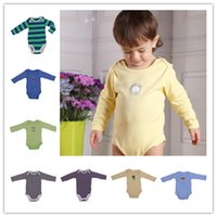 Wholesale 5pcs bag Baby Boy New Cartoon Stripe Pattern Long Sleeve Coveralls Baby Bodysuit Infant jumpsuit Cotton DRD