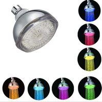 Wholesale LED Bathroom Shower Head Colors Changing Automatic Red Green Blue RGB Romantic Color Temperature Sensor Bathroom Sprinkler Free DHL UPS