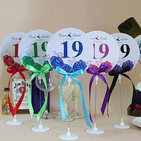 Wholesale Personalized Rose Pattern Round Shaped Table Number Card With Holders Place Card Garden Supplies Set of