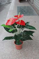 Cheap Plastic tree Artifical flower bonsai Anthurium Andraeanum flower Green Plant Plastic tree With Vase Office decoration Home Dec