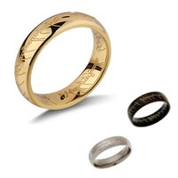 Wholesale 2015 Hot sale Lord Of the Rings K Gold Plated Titanium Steel Unisex Ring Fashion jewelry for Men Women