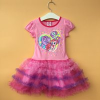 little girls dresses - My little Pony Kids Girls s dress TUTU tulle dresses Cartoon layered short sleeve girl girls princess A4