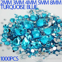lab created - Mix Sizes turquoise blue Round strass Acrylic Loose Non Hotfix Flatback Rhinestone Nail Art loose Stones For Wedding Decorations