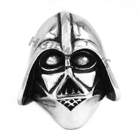 armour ring - Darth Vader Helmet Ring Motor Biker Skull Ring Stainless Steel Jewelry Cool Punk Steel Armour Biker Men Ring SWR0102H