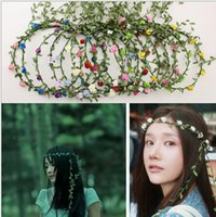 Wholesale Multicolor Girl Flower Headwear Women Wedding Headband Girl Anadem Beach Accessories Headdress Seaside Holiday Photograph DF431