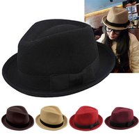 Wholesale New Arrivals Unisex Vintage Women Ladies Men Wool Trilby Bowler Fedora Bowknot Warm Hat Stingy Brim Cap Fx226