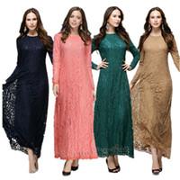 Wholesale New Arrival Islamic Muslim lace Dress for Women Long maxi Dress Malaysia Abayas in Dubai Turkish Ladies Clothing l488