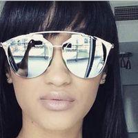 Wholesale 2015 NEW summer style reflected sunglasses women brand designer UV400 metal frame retro vintage cat eye sun glasses for women
