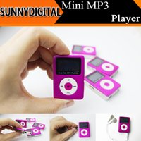 Wholesale Mini Mp3 Player Portable LCD MP3 Msuic Players With TF Card Slot Sport mini mp3 player with retail box USB Cable Earphones