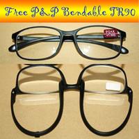 bendable reading glasses - TWO Black TR90 Bendable NOBLE reading glasses