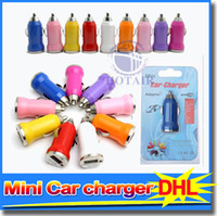 Wholesale Micro Car Chargers Adapter V for iPod Touch iPhone S Samgsung mobile phone With Retail Box free DHL