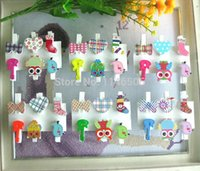 Wholesale Hot mix cute cartoon animal wood clips memo card clamp color wooden paper pegs photo clamp Memo Note Clips