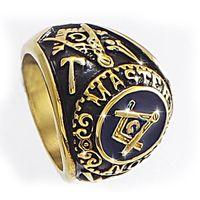 masonic - Fashion k Gold Stainless Steel Masonic Ring for Men master masonic signet ring freemason ring jewelry