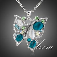 platinum - AZORA Platinum Plated Multicolor Stellux Austrian Crystal Butterfly Jewelry Pendant Necklace TN0100
