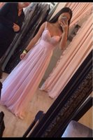 Wholesale 2016 New Prom Dresses Evening Pageant Party Gowns A Line Spaghetti Straps Pink Lace Chiffon Beads Crystals Backless Sweet Cheap