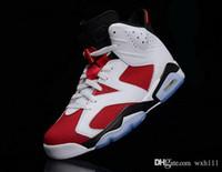 Wholesale 2015 Jordan basketball Famous Trainers Retro VI Men s Sports Basketball Shoes White Carmine Black