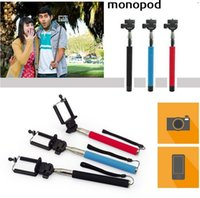 Wholesale Z07 Self timer Mobile phone Extendable Ski Pole Handle Telescopic Monopod With Tripod Mount For Camera iphone S S C Galaxy S5 NOTE