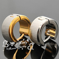 Wholesale Fashion Men earings Jewelry brincos Gold Silver color l Stainless Steel Earrings ear cuff