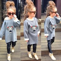 children clothings - 2015 autumn new children outfits girls cute cartton pattern long sleeve T shirt Faux Leather leggings pants sets kids clothings A6879
