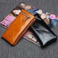 bi oil - 100 Genuine Leather Women Wallets Oil Wax Cowhide Purse Ladies Bi fold Long Style Wallets Orange Money Clips Clutch JZ4052
