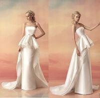 satin sash ribbon - Honorable Hellas Strapless Sheath Satin Wedding Dresses High Quality Tiered Ruffles Peplumn Ribbon Bowknot Sash Bridal Gown Vestido De Novia