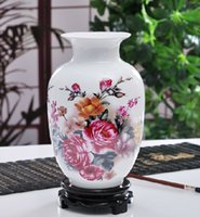 vase ceramic - China Antique Jingdezhen ceramic vase modern and stylish home decor crafts ornaments peony bottle gourd