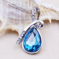 Wholesale High Quality Rushed Hot Sale Sterling Silver Charm Necklace Pendant Blue Cystal Gemstone Necklace Pendant