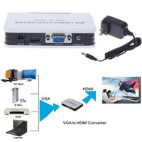 hdmi dvd player - 1080P HDMI VGA Converter Audio VGA to HDMI HD HDTV Video Converter Box with Power Adapter for PC Laptop DVD Player Gaming