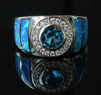 blue stone ring - Cool Blue Fire Opal Ring for Men