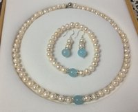 aquamarine pearl earrings - NEW mm White Pearl Aquamarine Necklace Bracelet Earring Set