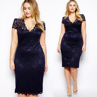 plus size womens clothing - 2015 Summer Womens Sexy Lace Casual Dresses V Neck Pencil plus size summer dresses clothing