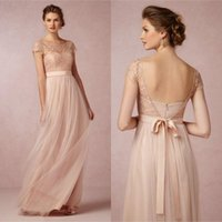 long sleeve pink bridesmaid dresses - 2015 Cheap Lace Long Bridesmaid Dress Blush Pink Scoop Short Sleeves Lace Tulle Maid of Honor Backless Beach Wedding Party Dress EM03248