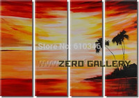 kitchen islands - modern sunrise Landscape Scenery Seascape beach and palm tree oil painting wall hanging river island kitchen art bedroom