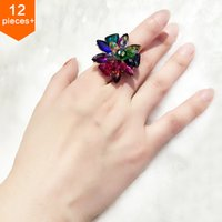 mens jewelry cheap - Factory Colorful Crystal Flower Cheap Mens Rings Charms Unisex Wedding Cluster Ring Fashion Vintage Jewelry Accessories