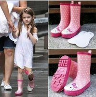kids rain boots - Baby Rain Boots New Fashion Cartoon Hello KT Girls Boots Printed Bow Polka dot Non slip Kids Rubber Boots MC